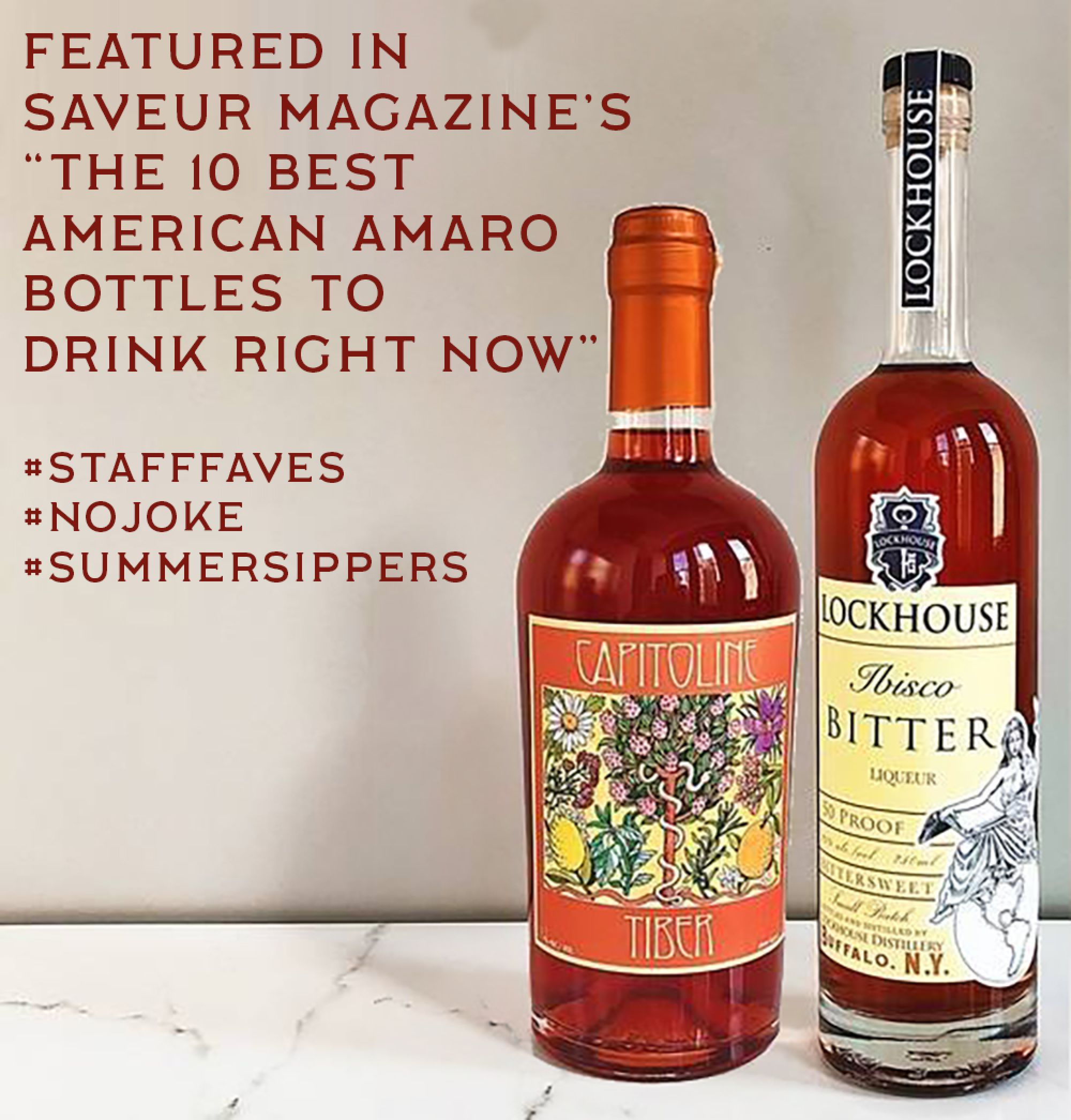 Our Tiber and Ibisco bitters are in the top 10 American bitters!